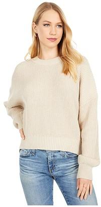 Michael Stars Richie Boxy Crew Neck Pullover Sweater (Stucco) Women's Clothing