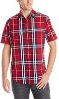 U.S. Polo Assn. Men's Slim Fit Short Sleeve Plaid Sport Shirt