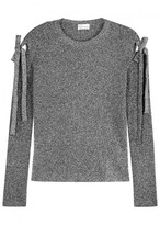 RED Valentino Silver Bow-embellished Stretch-knit Jumper