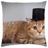 """iRocket - Cat with hat - Throw Pillow Cover (18"""" x 18"""")"""