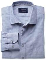 Charles Tyrwhitt Slim fit slub cotton blue shirt