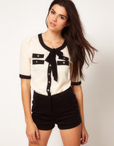 Tie Front Blouse With Contrast Trim