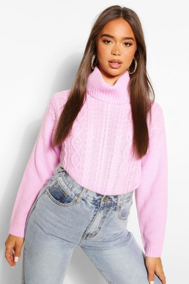 boohoo Cable Knit Roll Neck Jumper
