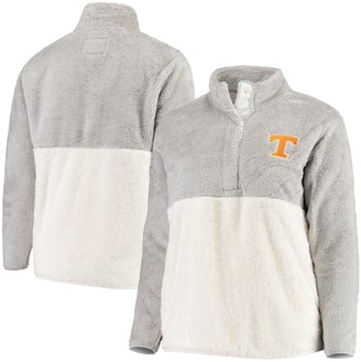 Women's Gray/Cream Tennessee Volunteers Plus Size Fuzzy Fleece Colorblocked Four-Snap Pullover Jacket