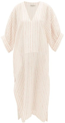 Three Graces London Livietta Striped Linen Kaftan - Womens - Cream Stripe