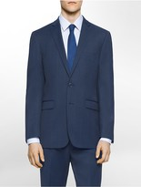 Calvin Klein Body Slim Fit Navy Plaid Wool Suit Jacket