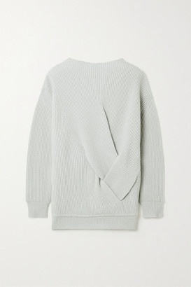 Max Mara Verace Twisted Ribbed Wool And Cashmere-blend Sweater - Light gray