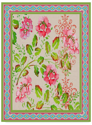"""Jean Plout 'Fiesta Floral Tapestry 4' Canvas Art - 14"""" x 19"""""""