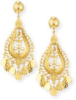 Jose & Maria Barrera Hammered Golden Teardrop Statement Earrings