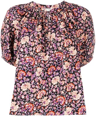 Ulla Johnson Floral-Print Short-Sleeve Blouse