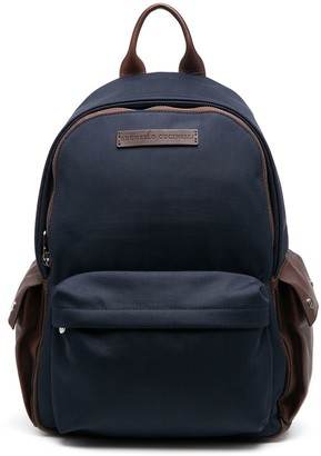 Brunello Cucinelli Colour-Block Logo Patch Backpack