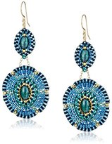 """Miguel Ases Blue and Green Beaded Drop Earrings, 2.75"""""""