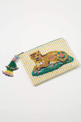 Anthropologie Leopard Embellished Pouch