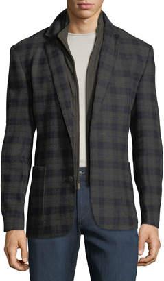 English Laundry Men's Butler Plaid Blazer w/ Zip-Out Bib