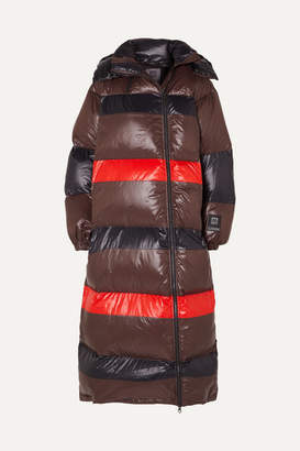 Ganni 66 North Askja Hooded Striped Quilted Glossed-shell Down Coat - Black
