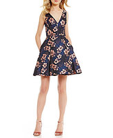 Betsey Johnson V-Neck Sleeveless Floral Jacquard Fit-and-Flare Dress