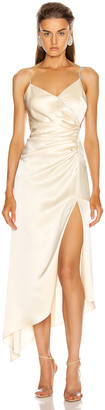 David Koma Asymmetric Ruched Cami Dress in Ivory | FWRD