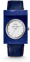 Fossil x Opening Ceremony Gemstone Three-Hand Blue Leather Watch
