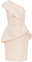 Monique Lhuillier One Shouldered Peplum Dress