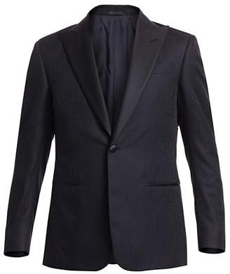 Giorgio Armani Silk Watermark Suit Jacket