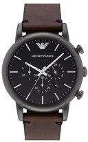 Emporio Armani Leather Strap Watch, 46mm