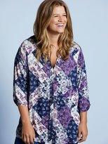 M&Co Plus patchwork pleat front shirt