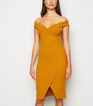 New Look Missfiga Bardot Wrap Bodycon Dress