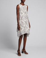 Brunello Cucinelli Printed Sleeveless Silk Tiered Dress