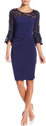 Marina Lace Sequin Bell Sleeve Ruched Dress