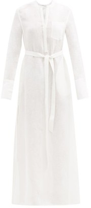 Another Tomorrow - Belted Organic-linen Maxi Dress - Womens - White