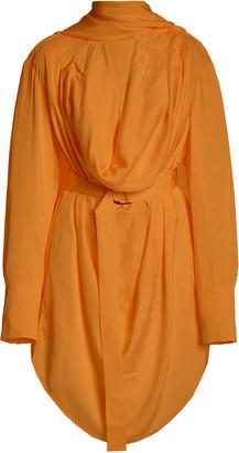 Acler Hernshaw Draped Georgette Tie-Neck Mini Wrap Dress