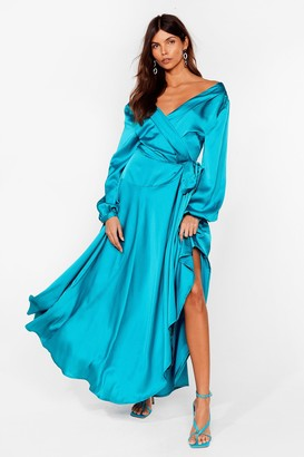 Nasty Gal Womens Long Cowl Back Wrap Dress with Long Sleeves - Teal
