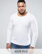 Asos PLUS Long Sleeve T-Shirt With Scoop Neck In White