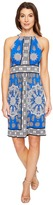 London Times Paisley Dial Halter Fit & Flare Dress