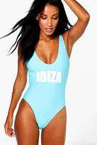 Boohoo Ibiza Scoop Neck Slogan Swimsuit