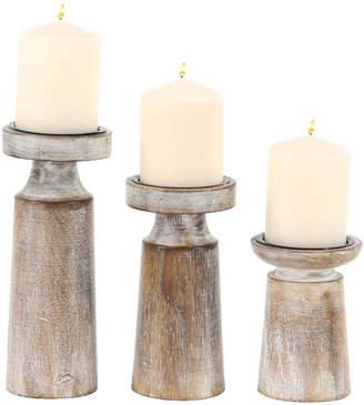 Uma Enterprises Natural Set Of 3 Mango Wood & Iron Pedestal Candle Holders