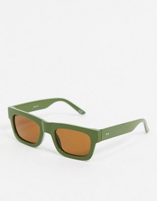 ASOS DESIGN square sunglasses in khaki with smoke lens
