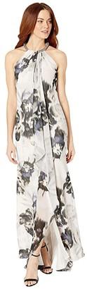 Calvin Klein Floral Print Gown w/ Embellished Halter Neck (Blossom Multi) Women's Dress