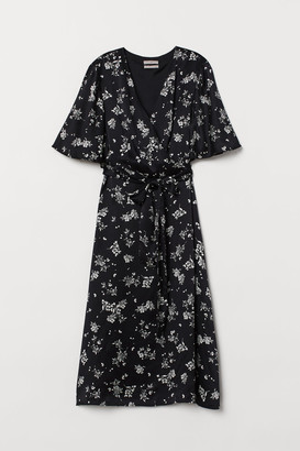H&M V-neck Silk Dress - Black