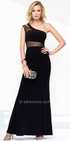 Alyce Paris One Shoulder Illusion Jersey Evening Gown