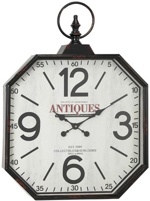 """Willow Row Oversized Octagon-Shaped Antique Black Wall Clock with Large Finial Detail - 24""""x 32"""