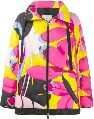 Moncler Floral-Print Puffer Jacket