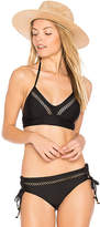 Ella Moss Juliet Solids Lace Up Back Bikini Top in Black