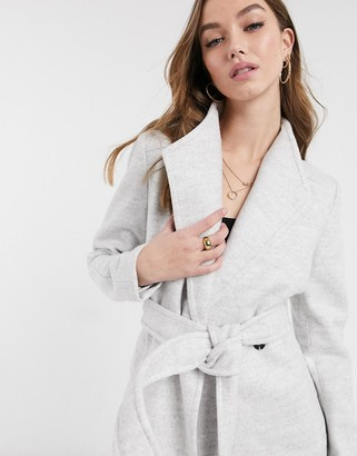 Forever New short wrap tie smart jacket in grey
