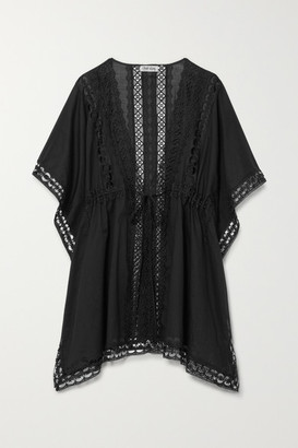 Charo Ruiz Ibiza Kayla Crocheted Lace-paneled Cotton-blend Kaftan - Black