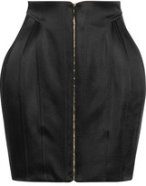 Balmain Satin Mini Skirt - Black