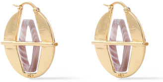 Noir Nano 18-karat Gold-plated Agate Earrings