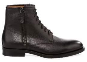 Aquatalia Vladimir Tumbled Embossed Leather Ankle Boots