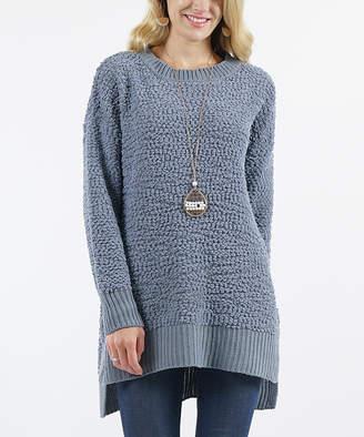 Lydiane Women's Pullover Sweaters CEMENT - Cement Crewneck Popcorn-Knit Side-Slit Sweater - Women
