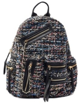 Like Dreams Distorted Print Weave Backpack with Chain Bellishments